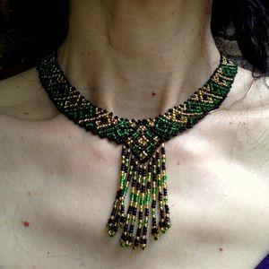 Vintage Woven Beadwork Choker Necklace